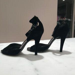 DKNY velvet peep toe heels with ankle strap